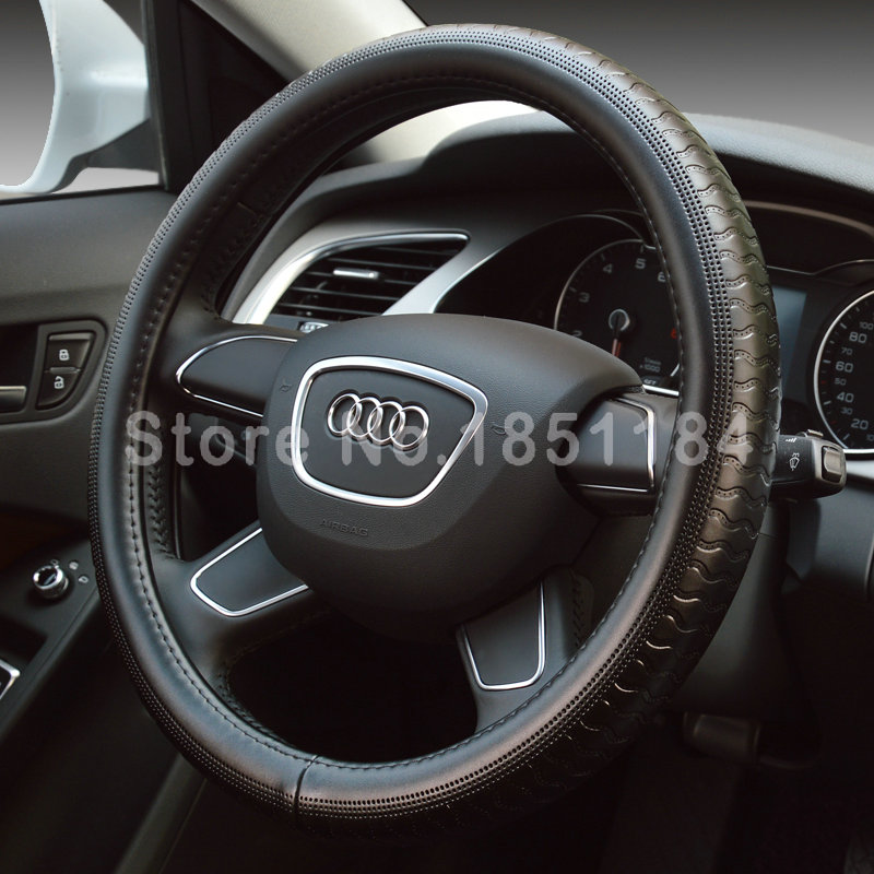 Black Man Business Snake Genuine Leather Automobile Steering Wheel Covers 15 inch(China (Mainland))