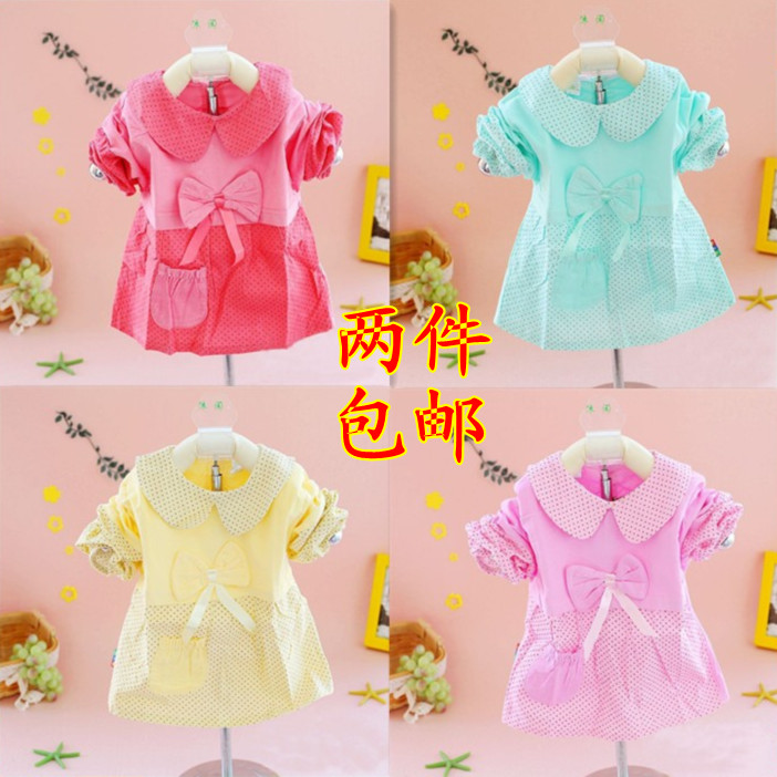 Child turn-down collar gowns, baby waterproof anti tofts infant corduroy long-sleeve all-inclusive 100% cotton eat bib rice(China (Mainland))