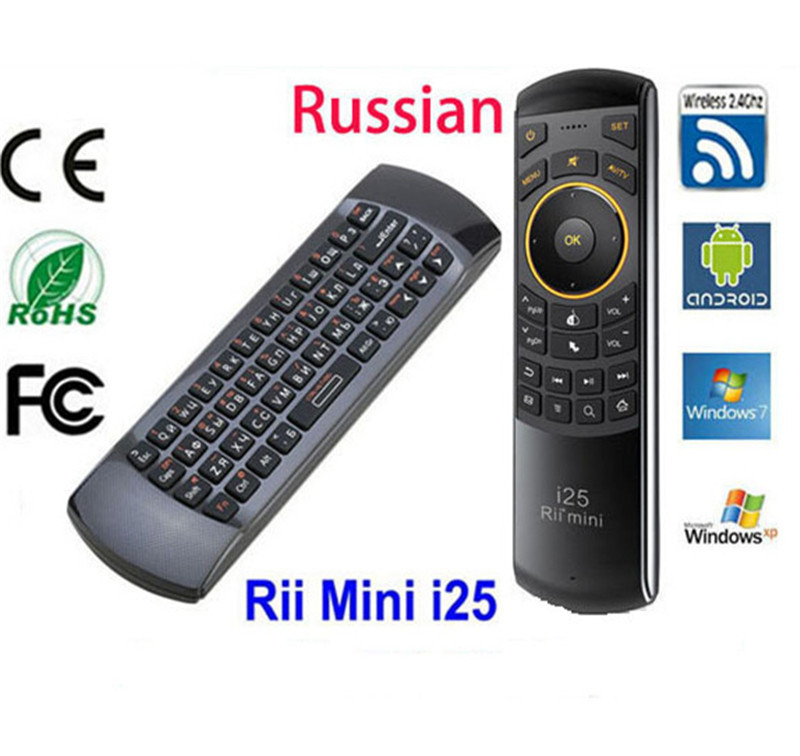 Russian Keyboard Rii Mini i25 Wireless Gaming Keyboard Air Mouse IR Remote Computer Peripherals for PC Google TV PS3(China (Mainland))