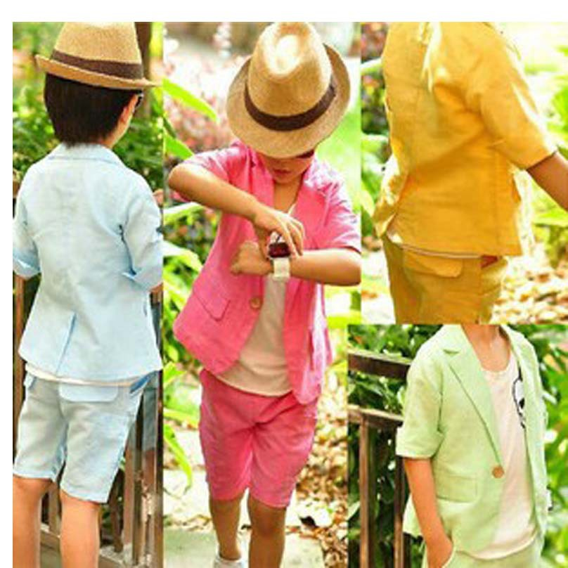 New summer style children candy color knee long pants short coat wedding suit kids cotton jackets blazer suits for baby boys(China (Mainland))