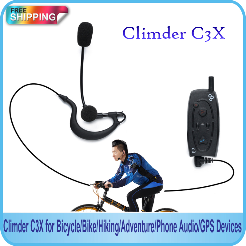 Free Shipping!!2015 New Arrival 2pcs X Bluetooth Intercom Climder C3X for Bicycle/Bike/Hiking/Adventure/Phone Audio/GPS Devices