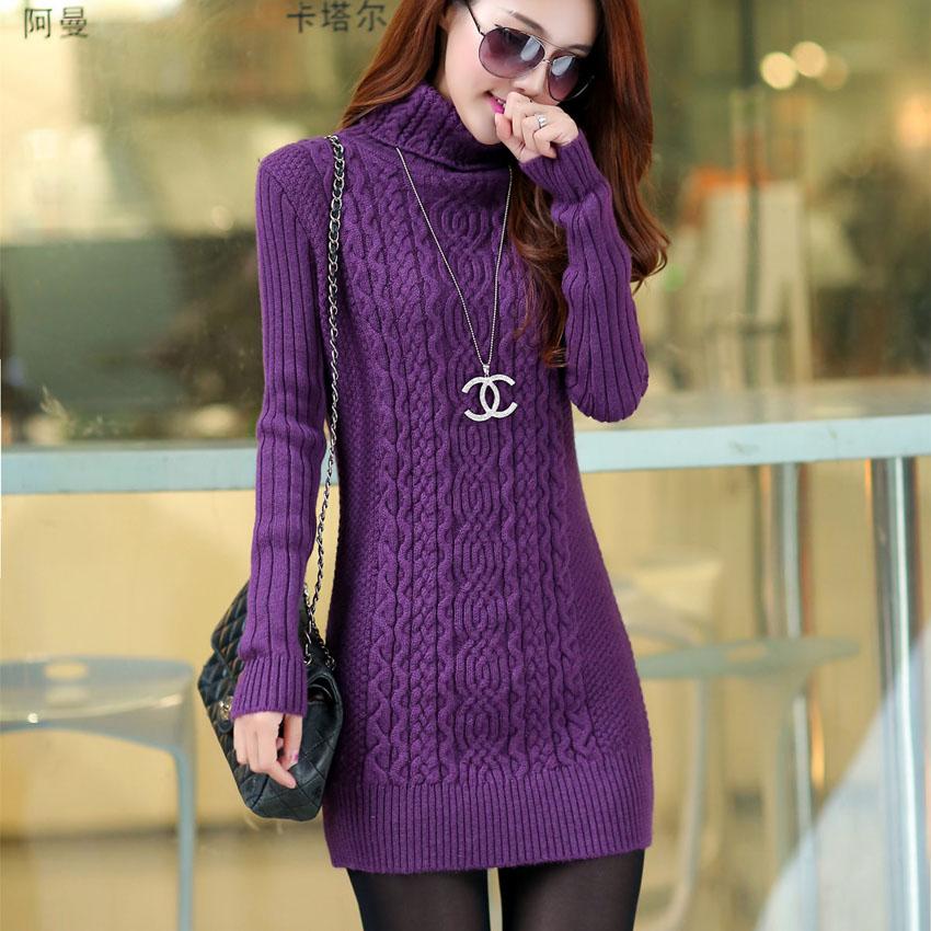 Turtleneck sweater female medium-long basic pullover shirt slim autumn and winter twist sweater thickening sweater femaleОдежда и ак�е��уары<br><br><br>Aliexpress