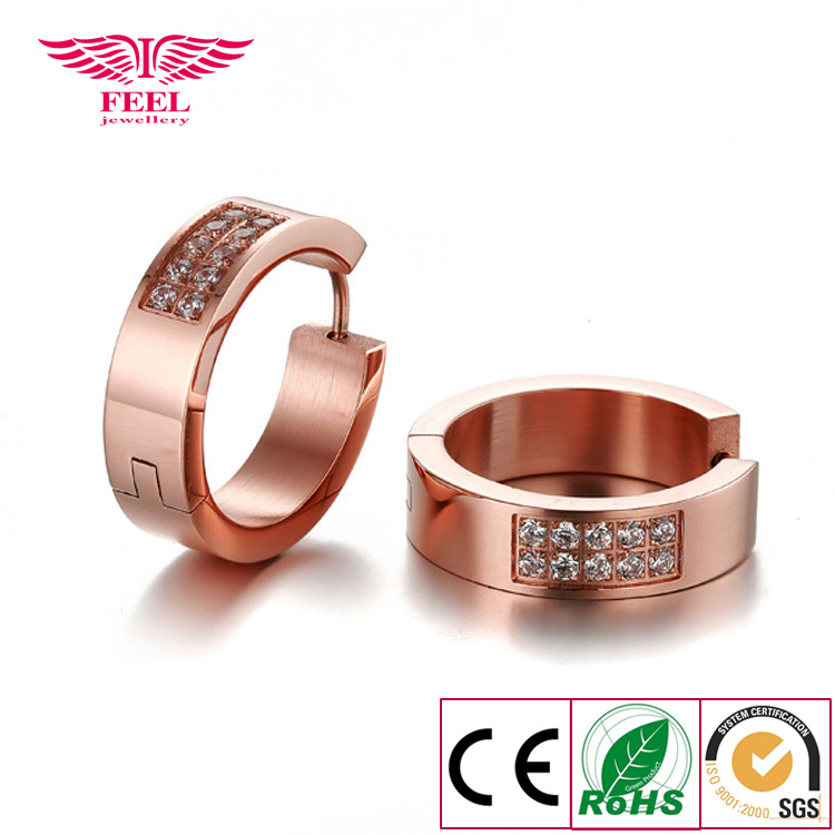 Top Quality Rose Gold Filled CZ Hoop Earrings Cubic Zirconia Fashion Brand Circle Jewelry For Perfume Women Lady Bijoux(China (Mainland))
