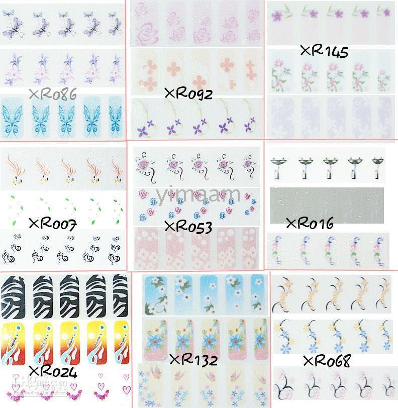 applique color printing Watermark nail decals fingernail sticker Painting fingernail watermark