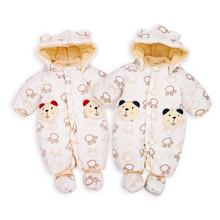 Baby winter thicken coral fleece cotton-padded Footies newborn Infant boys girl cartoon bear jacket cotton girls & One-Piece(China (Mainland))