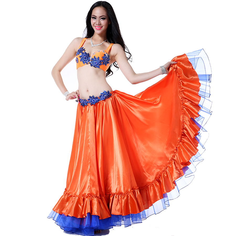 2015 Women Bollywood Dance Costumes Bellydance 2pcs(Bra+Skirt) Indian Dresses Ropa De Danza Del Vientre Vestido Indiano