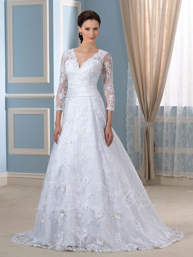 Popular quarter length sleeve wedding dresses buy cheap for Wedding dresses with three quarter length sleeves