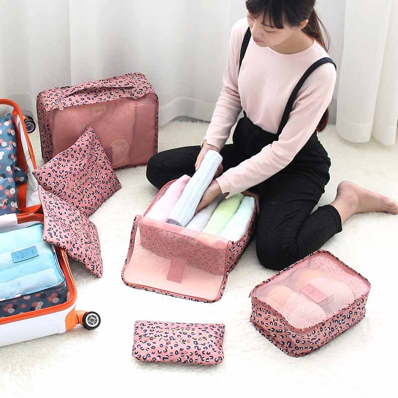 High Quality 6pc/Set Travel Luggage Organizer Bag Storage Bags Cute Dots Pattern Waterproof Pouch For Clothes Shoes Shipping(China (Mainland))