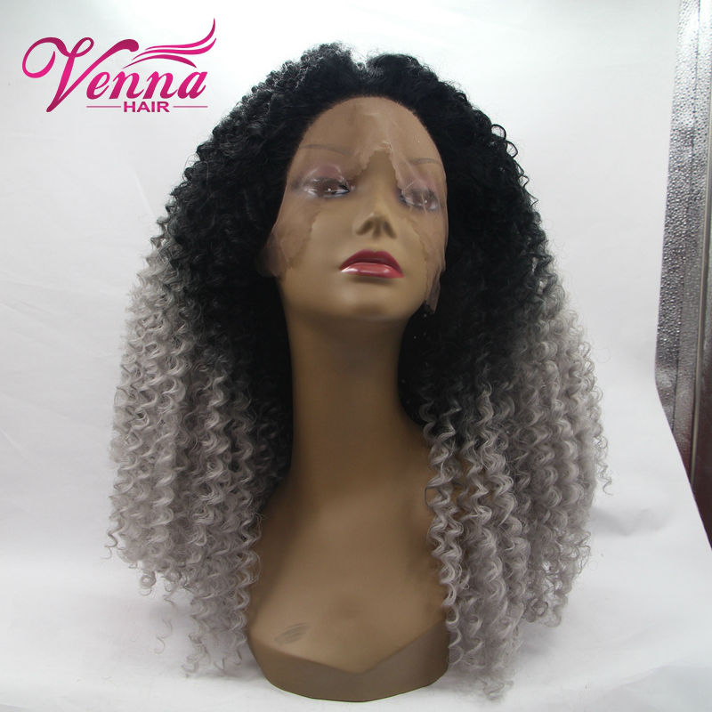 2016 New Fashion Grey Ombre Wig Short Heat Resistant Synthetic Kinky Curly Lace Front Wig High Quality Cheap Grey Wig<br><br>Aliexpress