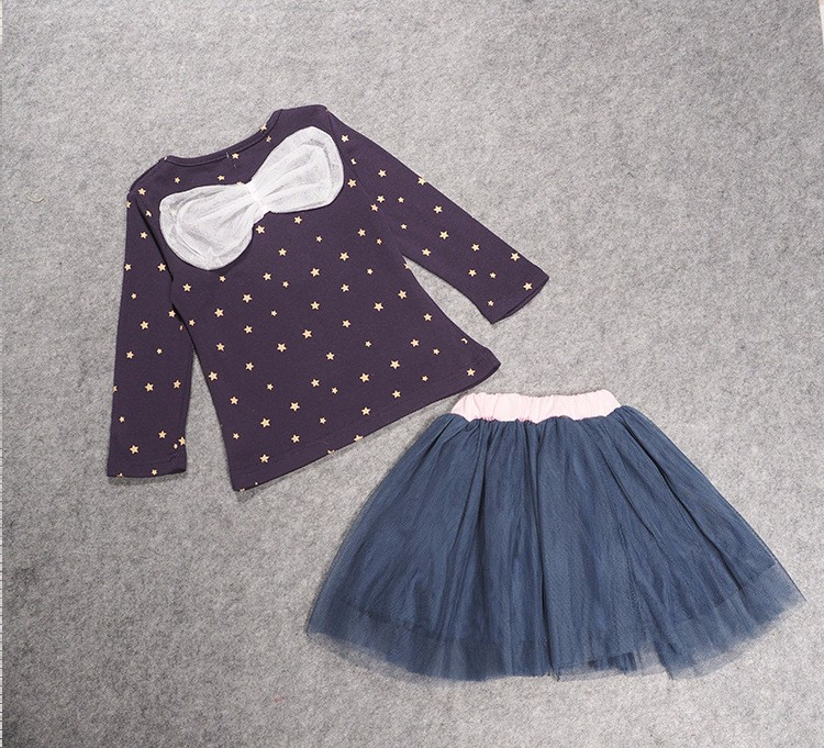 Korean Version Spring and Autumn Girl Stars Top Bow Gauze Skirt Two Piece Children Set Sets Wholesale Childrens Clothing Sets S(China (Mainland))