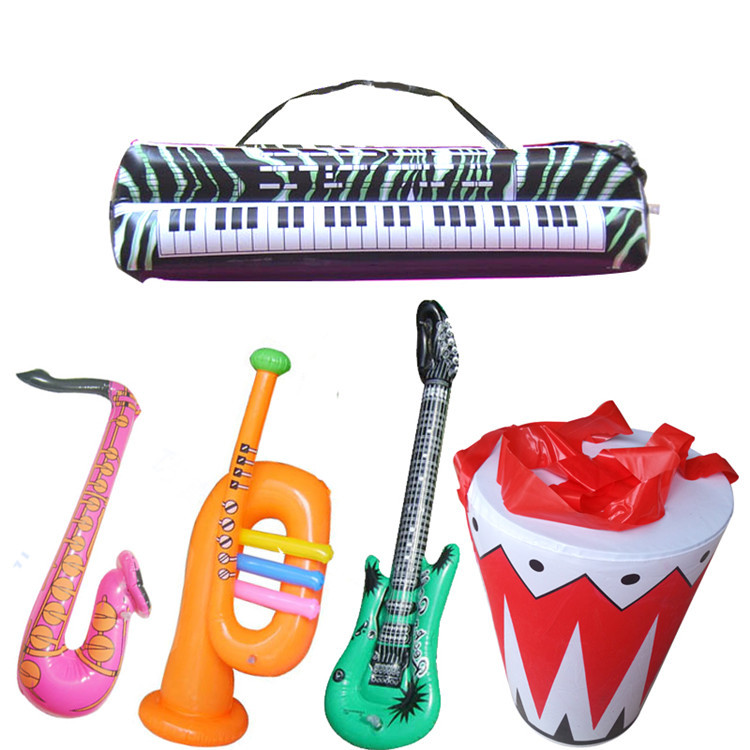5pcs/set children costume inflatable game toys drum set/sax/horn/guitar/Keyboard plastic kids music instrument toys(China (Mainland))