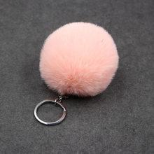 1 pedaço Faux Fur Bola 8 centímetros Pompom Keychain Car Chaveiro Chaveiro Bola De Pele De Coelho Pompons De Pele Marca Bag Charms com Cadeias Chaveiro(China)