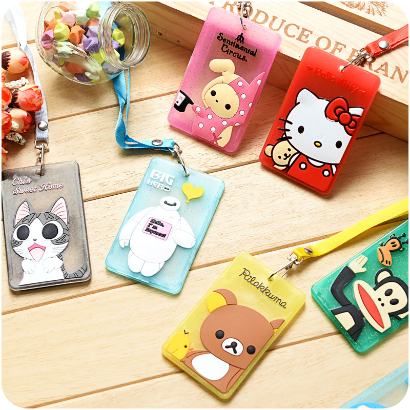 Cartoon card holder with string Soft silicone ID Cards case Kitty Rilakkuma Baymax Totoro Doraemon Office school supplies 5514(China (Mainland))
