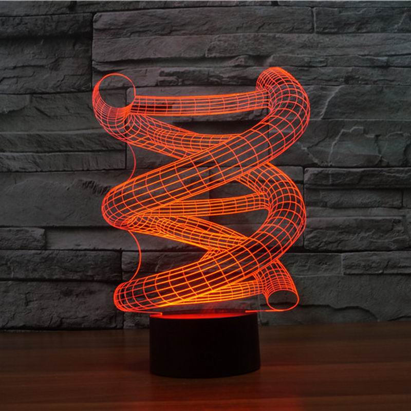 3D DNA led night lamp Hot Sale Wood Base abstract Spiral Bulb Lamp LED Night Light Table Illusion Decorative Lamp 3075(China (Mainland))