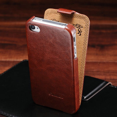 4S Vintage Luxury Flip PU Leather Case For iPhone 4 4S 4G Crazy Horse Skin With FASHION Logo Phone Back Cover Protective Shell(China (Mainland))