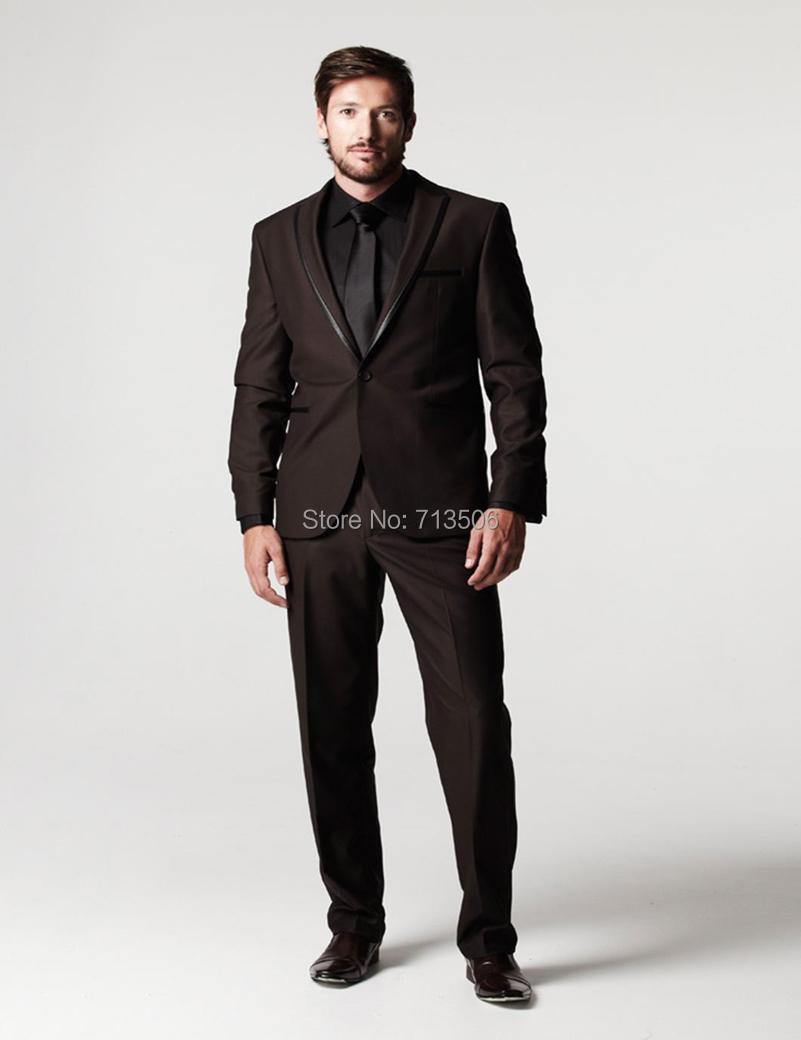 2016 Italian custom made Brown groom suits One button Jacket Pants Tie mens tuxedos for wedding Groomsmen suits.jpg