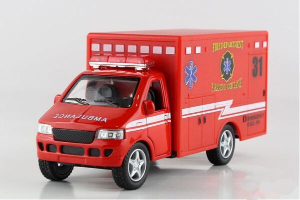 Free shipping Kinsmart ambulance Alloy model toys Leap to jump Children like the gift(China (Mainland))