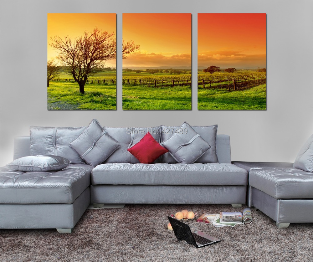 3 Panel modern wall art home decoration frameless oil painting canvas prints pictures P195 beautiful landscape vineyard - Ann Taylor's Store store