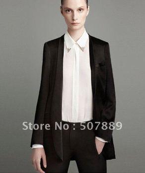 Free Shipping Metal collar design small lapel Ms. long-sleeved chiffon shirt (S,M,L)TB1250