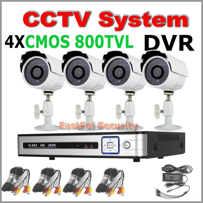 Home security 4CH CCTV surveillance System Kit with Waterproof CMOS 800TVL Night view Cameras Surveillance cctv diy kit system<br><br>Aliexpress