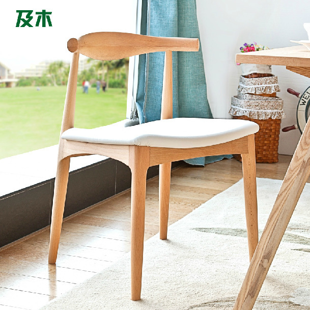 Modern simple fashion dining furiture / genuine leather full solid wood ox horn chair/solid wood dining chair 6 style(China (Mainland))