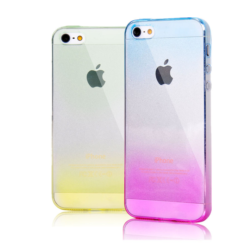 Fashion TPU Soft Case for iPhone 5S Silicon Gradient Color Design Cover for Apple iPhone5 5s Cases Free Shipping(China (Mainland))