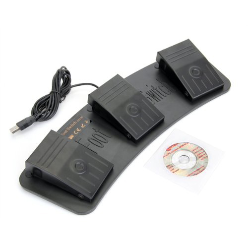 WSFS Wholesale 2 X FS3-M USB Triple Foot Switch Pedal Control Keyboard Mouse PC Game Metal<br><br>Aliexpress
