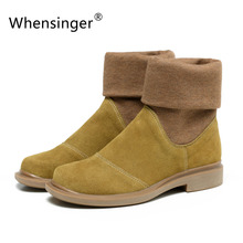 Whensinger - 2017 New Spring Women Boots Genuine Leather Slip On Round Toe 2 Colors 601(China (Mainland))