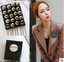 Fine jewelry steampunk rivets tassel epaulette brooch korean haute qualite women/men shirt accessories wholesale/broche/broschen