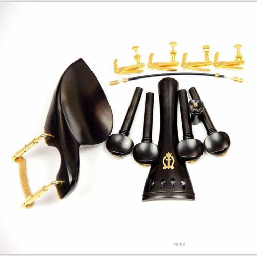 1 Set New Ebony Wood 4/4 Violin Parts Chinrest & Golden Clamps Endpin Tuners
