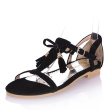 Big size 34-43Fashion  Open Toe Women solid red blue black apricot pink tassel beading Sandals flats girls' Bohemia Summer Shoes