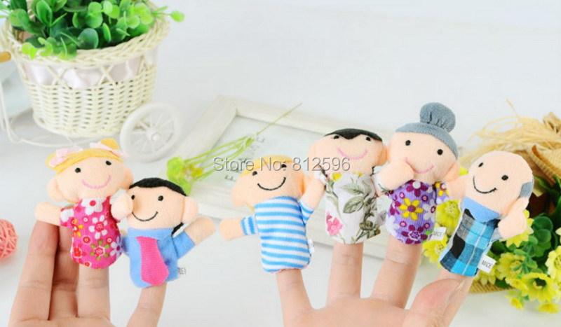 Free Shipping 6pcs Baby Cartoon Plush Happiness Family Finger Puppets of Doll Set Funny and Educational Story Telling Toy(China (Mainland))