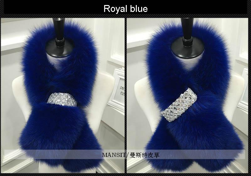 fox fur scarf royal blue 2