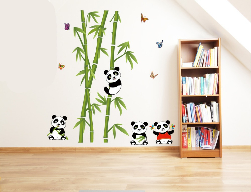 Buy new cute panda bamboo large wall for Sticker deco