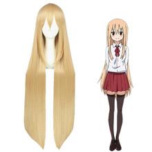 Free Shipping 100cm Long Straight Orange Hair Himouto! Umaru chan/ Doma Umaru Synthetic Anime Cosplay Wigs CS-262A(China (Mainland))