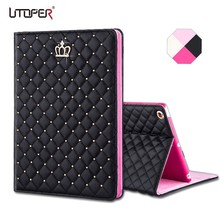 Mini 1/2/3 Luxury Crown Grid PU Leather Cover For Apple ipad Mini 1 2 3 Wake Up Sleep Smart Stand Full Body Bag Tablet Case(China (Mainland))