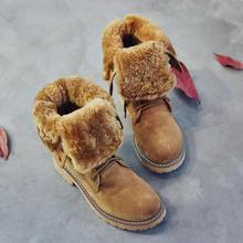 Stivali invernali Con Pelliccia Delle Donne Lace Up Boots di alta 2018 Delle Donne Pattini di Cuoio Genuini Avvio A Metà Polpaccio In Pelle Antiscivolo botas mujer(China)
