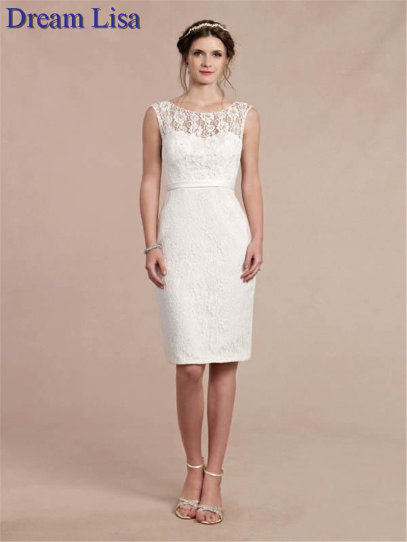2015 short lace wedding dresses knee length sheer neckline for Short elegant wedding dresses