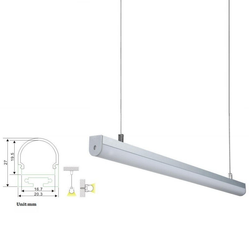 Led light Aluminum Profile 10m With Pendent Installation High Air Material based on led bar or waterproof led strip light ALP027(China (Mainland))
