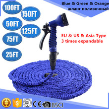 Garden Hose Hot Selling 25FT-150FT Expandable Magic Flexible Garden Water Hose Plastic Hoses Pipe With Spray Gun To Watering(China (Mainland))
