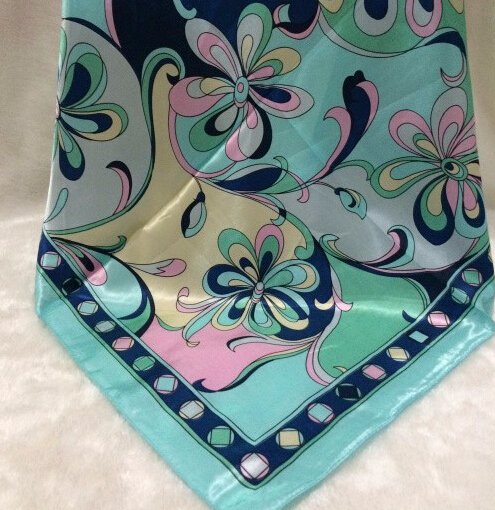 2015 Women Summer Square Scarves Small flower Print 60*60cm Scarf Shawls Polyester Satin foulard Lenco designer silk scarf(China (Mainland))