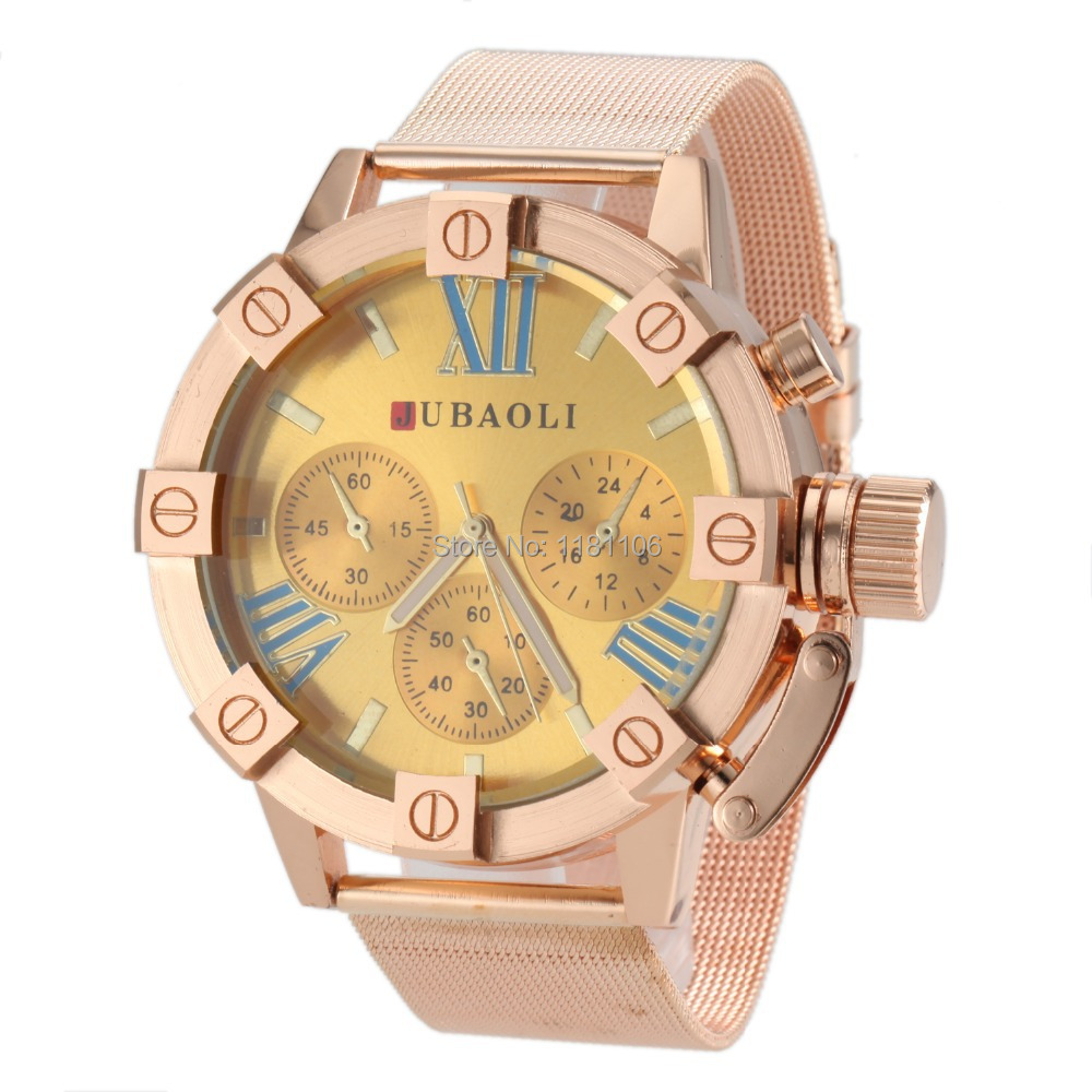 (Ju baoli) gold large dial watches men's fashion military watch men quartz watch, stainless steel  -  13413630 store