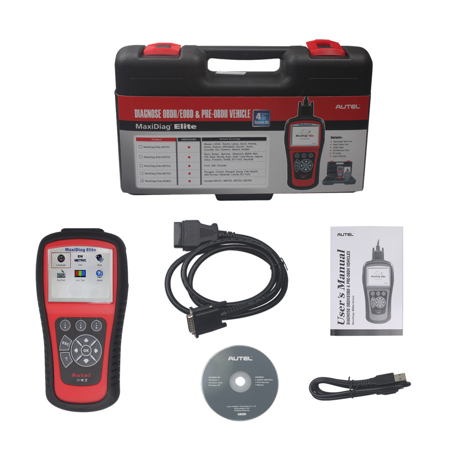 Autel MaxiDiag Elite MD802 For 4 System With Datastream Model Engine,Transmission,ABS &Airbag Code Scanner Tool(China (Mainland))
