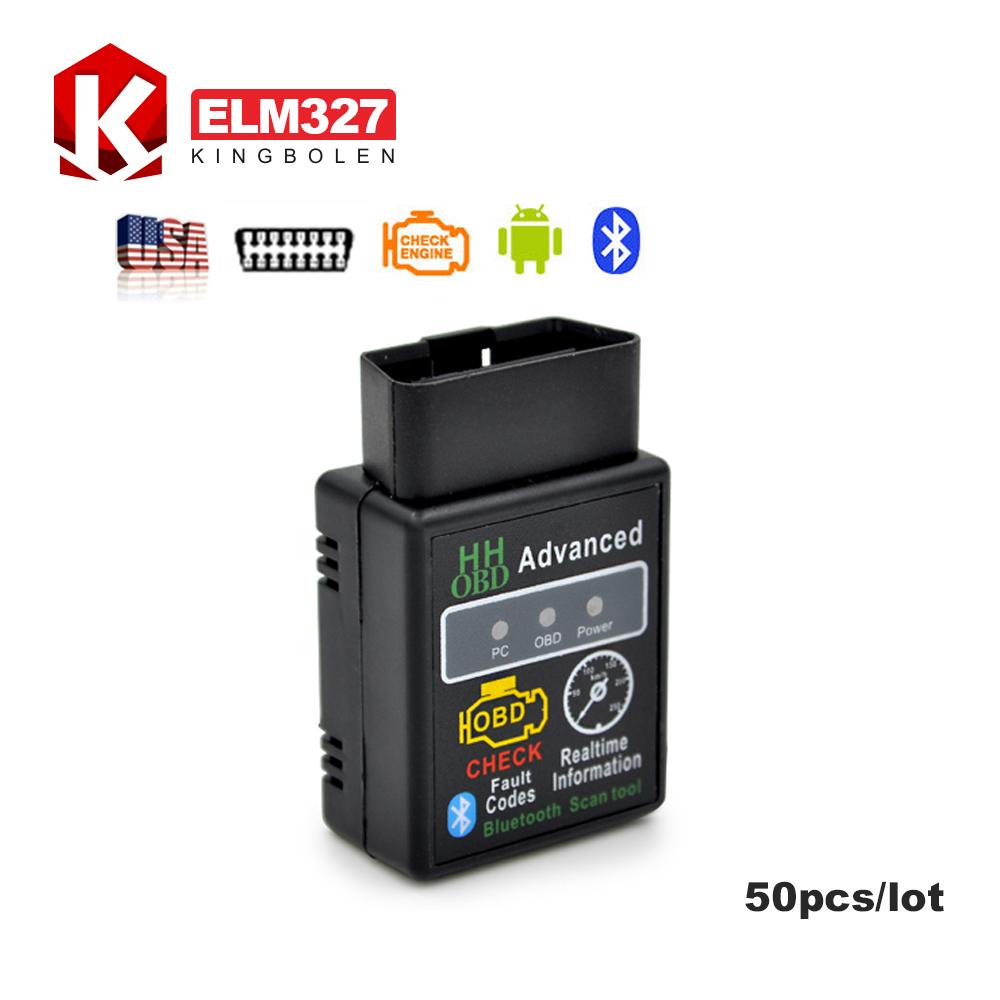 [50pcs/lot]Promotion HH OBD Mini ELM327 Bluetooth Factory price elm327 V2.1 OBD2 Diagnostic Scanner Work on Android ELM 327(China (Mainland))
