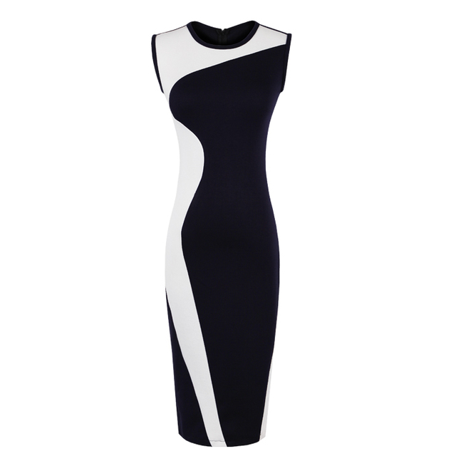 Free Shipping Woman's Sheath One-Piece Dress Geometry Design Patchwork Knitted Basic Fashion Dress For Ladies MG-006