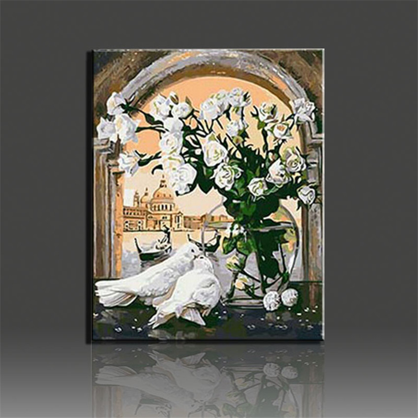 Gorgeous Coloring by Numbers Flower Oil Painting on Canvas Wall Painting Fashional DIY Digital Oil Painting Decorative Picture(China (Mainland))