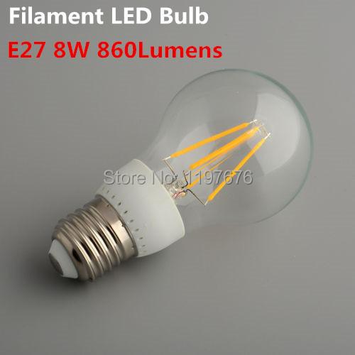 Led Lamp E27 220V 8W Filament Led Bulb E27 360 Degree 860Lm Warm White Energy Saving Light Wholesale 10pcs/lot free shipping(China (Mainland))