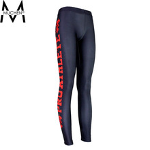 MUCHEN 2015 Women Leggings Bright Red Side Letters Sports Pants Force Exercise Tights Elastic Fitness Running Trousers  S16-28