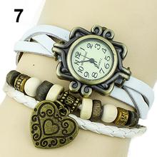 Mujeres reloj Retro de cuero de la pulsera del corazón decoración relojes de pulsera de cuarzo 15MN
