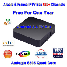 Hot sale Quad core Android tv box with 1 year 670 channnels French Arabic IPTV account XBMC/Kodi preloaded smart tv box